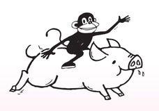 喜悦猴子猪乘驾 免版税库存图片