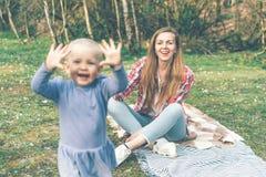 喜悦的真正的情感在母亲节 免版税库存图片