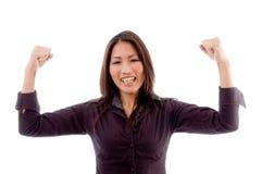 喜悦的纵向妇女 免版税库存照片