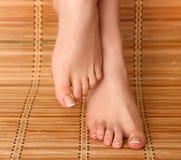 喜欢在地板上的美好的妇女腿 免版税图库摄影