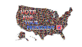 喜欢在总统选举的表决与美国的地图 库存照片