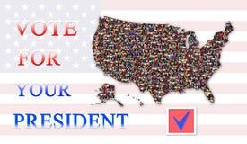 喜欢在总统选举的表决与美国的地图 图库摄影