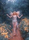 喜欢庭院的新生村姑,花爱退回她的灵魂,并且她从幸福飞行 ?treadled 库存照片