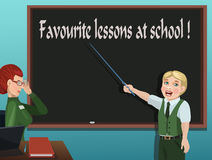喜爱的教训在学校! 免版税库存图片