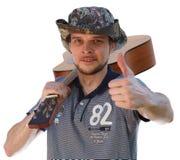 喜爱的爱好-弹吉他 免版税库存照片