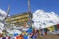 喜马拉雅山安纳布尔纳峰营地标志,尼泊尔 图库摄影