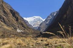 喜马拉雅山安纳布尔纳峰basecamp迁徙的足迹,尼泊尔山谷  库存图片