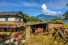 喜马拉雅山山、一间农舍和一个摊位在博克拉附近在尼泊尔 免版税图库摄影