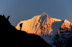 喜马拉雅山日落,尼泊尔 免版税图库摄影