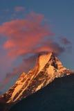 喜马拉雅山日落 免版税库存照片