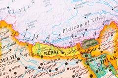 喜马拉雅山的地图 库存照片