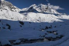 喜马拉雅山的看法从Lobuche村庄的  免版税库存图片