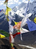 喜马拉雅山祈祷旗子 库存图片