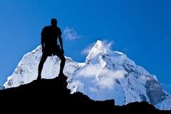喜马拉雅山风景,登上阿马Dablam 免版税图库摄影