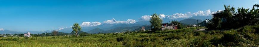 喜马拉雅山,尼泊尔的全景 库存照片