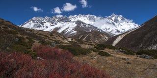 喜马拉雅山(在右边的洛子峰的)看法从Somare 免版税库存图片
