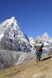 喜马拉雅山sherpa工作 库存图片