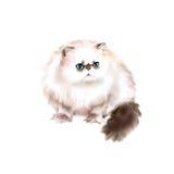 喜马拉雅Colourpoint长发猫水彩画象在白色背景的 手拉的甜家庭宠物 库存例证