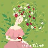 喝一个杯子清凉茶传染媒介图象的一名俏丽的妇女的画象 皇族释放例证