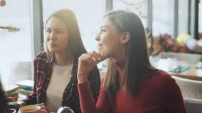 喝咖啡和聊天在咖啡馆的两名美丽的妇女 股票视频