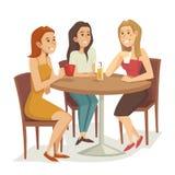 喝咖啡和茶的三名妇女在餐馆或咖啡馆,动画片传染媒介例证 免版税图库摄影