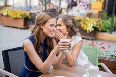 喝咖啡和说闲话的微笑的少妇 库存图片