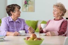喝咖啡的年长妇女 免版税库存照片