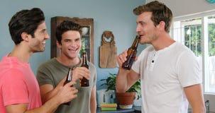 喝啤酒的愉快的朋友 影视素材