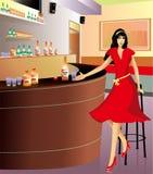 喝在一个经典内部角落的妇女的 图库摄影