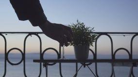 喝在阳台的一个人红葡萄酒海的背景的 特写镜头 股票视频