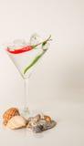 喝在马蒂尼鸡尾酒玻璃,马蒂尼鸡尾酒饮料用胡椒,贝壳,冰 免版税库存照片