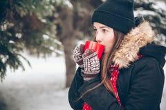 喝热的茶的女孩在冬天森林里 免版税库存照片