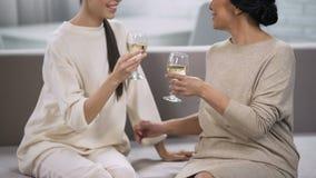 喝白葡萄酒和聊天,支持和通信,庆祝的妇女 影视素材
