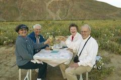 喝白葡萄酒的四个老年人 图库摄影