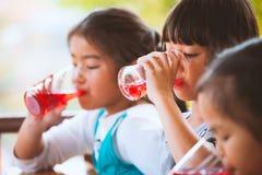 喝红色汁液的小组亚裔孩子浇灌与冰 免版税库存照片