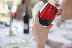 喝红葡萄酒的愉快的少妇在党 库存照片
