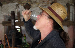 喝红葡萄酒的酿酒商 库存照片