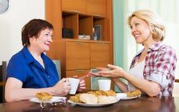 喝茶和聊天在lu的停留期间的微笑的同事 免版税图库摄影