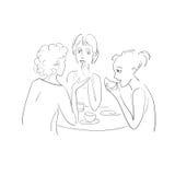 喝茶和谈话的三个女孩 传染媒介剪影 库存例证