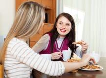 喝茶和说闲话的妇女 库存图片