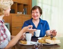 喝茶的两个女性朋友 免版税图库摄影