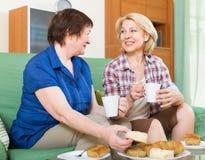 喝茶的两个微笑的朋友 免版税库存图片