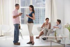 喝酒的年轻夫妇在客厅 库存照片