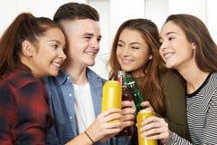 喝酒精的小组少年在党 免版税库存图片