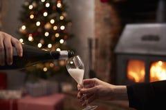 喝香宾的夫妇在为圣诞节装饰的屋子里 库存照片
