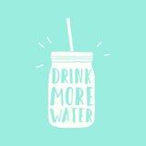 喝更多水 瓶子剪影 免版税库存图片