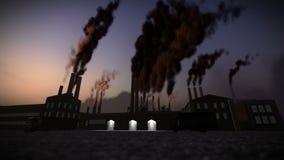 喷出烟英尺长度的工厂的烟囱 库存例证