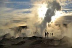 喷发蒸汽热的喷泉  免版税库存图片