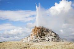 喷发黄石的白色圆顶喷泉 库存照片