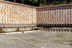 99喷口Fontana delle 99 cannelle的喷泉, L天鹰座 免版税库存图片